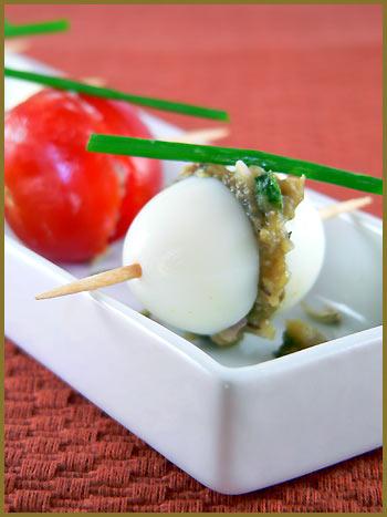 cashews and eggplant pur e in quail eggs oeufs de caille. Black Bedroom Furniture Sets. Home Design Ideas