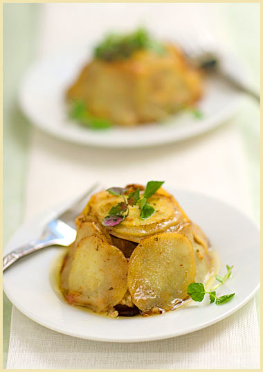 potato camembert apple timbale