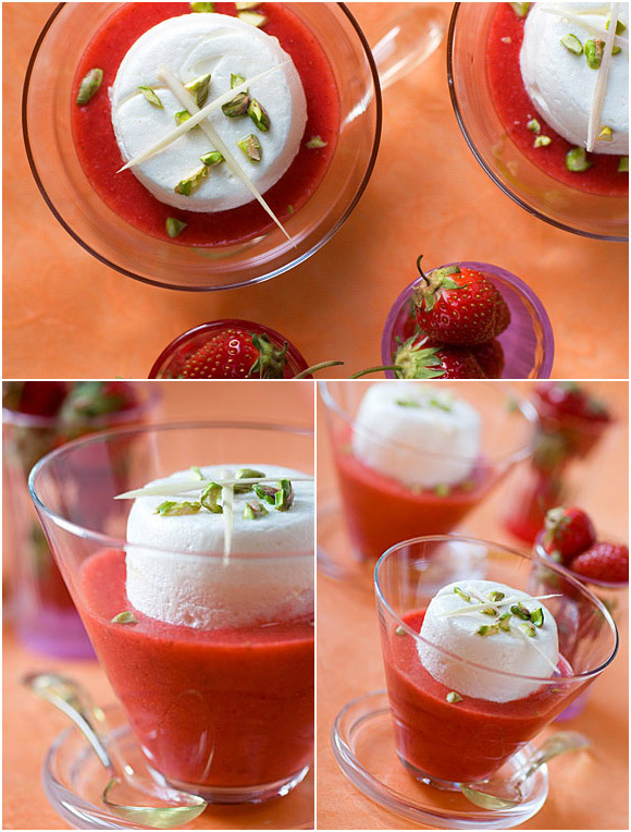 strawberry floating island