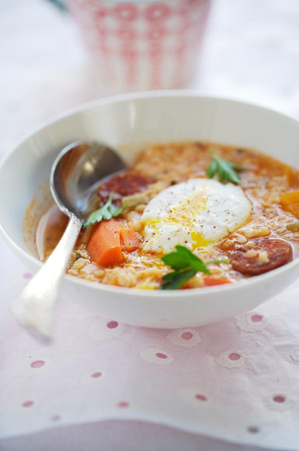 white lentil soup chorizo