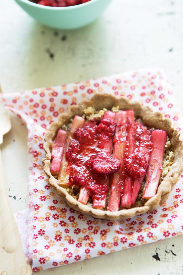 gluten free rhubarb raspberry tartlet