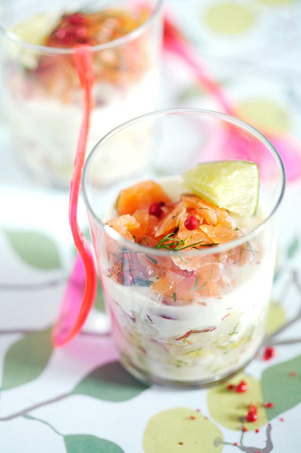 verrine smoked salmon cucumber yogurt apple radish